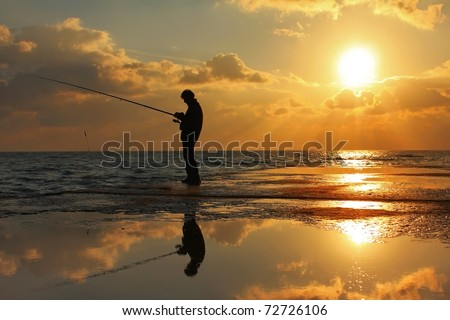 Fisherman standing on a pier at dawn sky background #72726106