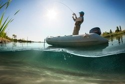 Fisherman, underwater view