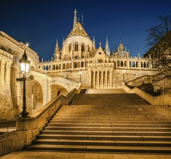 Fishermans Bastion at night in Budapest, Hungary