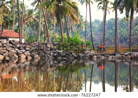 Fishermans village in palm tree forest near the lake in Varkala, Kerala, India