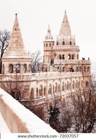 Fishermen's bastion in Budapest at winter