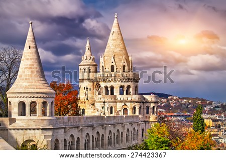 Fishermen's Bastion in Budapest in the sunset Stock photo ©