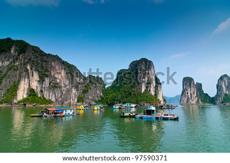 Fishermen village in Halong bay Vietnam