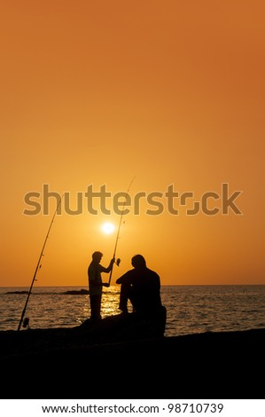 fishermens at sunset