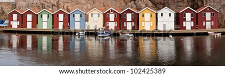 Fishermens huts at scandinavian coast