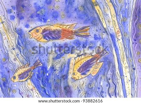 Fishes in blue water