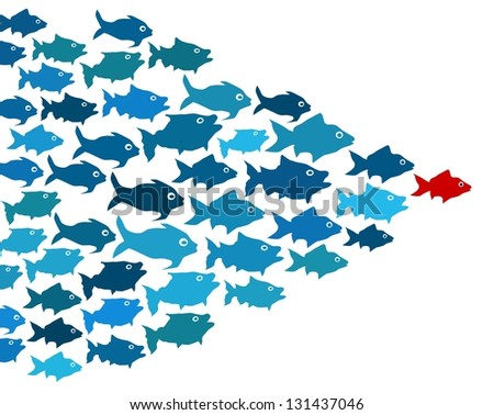 Fishes in group leadership concept