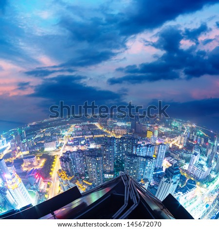 Fisheye Lens view of City skyline at night