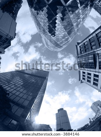 fisheye of swiss re building in london with sky