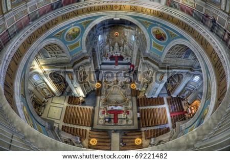 Fisheye view in basilica in Oudenbosch, Netherlands, which is a small replica of St Peters cathedral in Rome
