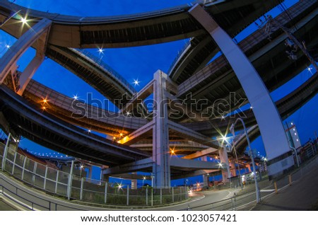 Fisheye view of a junction during blue hour #1023057421