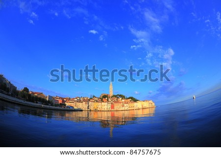 fisheye view of Rovinj old town, Croatia
