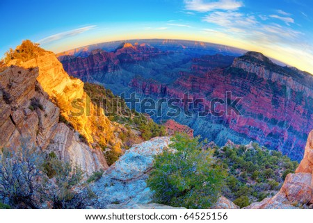 Fisheye view of the Grand Canyon at sunset