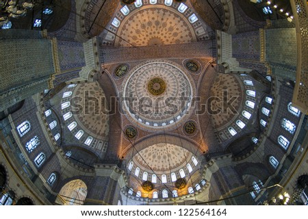 Fisheye view of the interior architecture inside Yeni Cami New Mosque in Eminonu district at Istanbul Turkey
