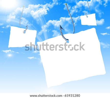 Fishhook with a white sheet of paper for the label floating in the blue sky. Symbol of dangerous promises.