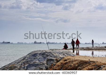 Singapore Pictures Beach on Fishing At Singapore Changi Beach Stock Photo 60360907   Shutterstock