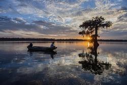 Fishing at Sundown on Lake Martin in Louisiana