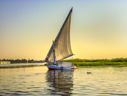 Fishing Boat. African Felucca boat fishing in the Nile in Egypt.