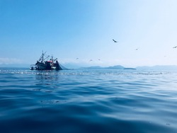 Fishing boat and fishing net over blue sea and clear sky with birds flying overhead.