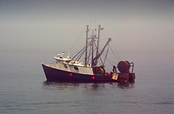 Fishing boat at anchor in northern Maine