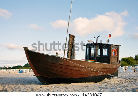 Fishing Boat at Baltic Sea Beach of Usedom Island, Germany