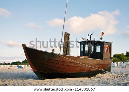 Fishing Boat at Baltic Sea Beach of Usedom Island, Germany