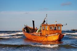 Fishing Boat at Baltic Sea Coast of Usedom Island, Germany