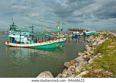 fishing boat at sea port in Thailand