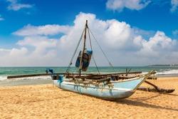 Fishing boat at the beach in Sri Lanka