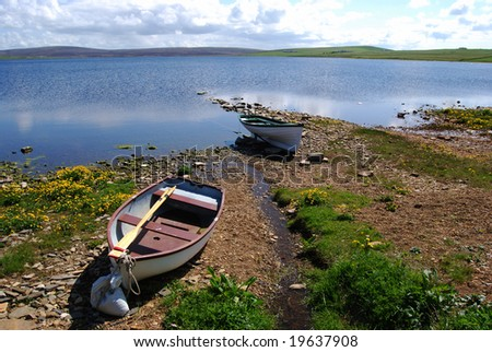 fishing boat at the Loch of Boardhouse on Orkney Mainland