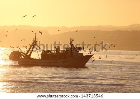 Fishing boat coming back home. Estepona, Costa del Sol, Andalusia, Spain