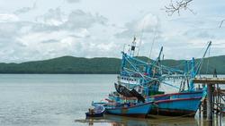 Fishing boat docked at the shore, Chanthaburi Thailand