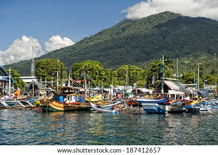 Stock Photo fishing boat in bitung Sulawesi indonesia harbor