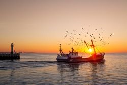 Fishing boat in front of the old wooden pier of Nieuwpoort at sunset