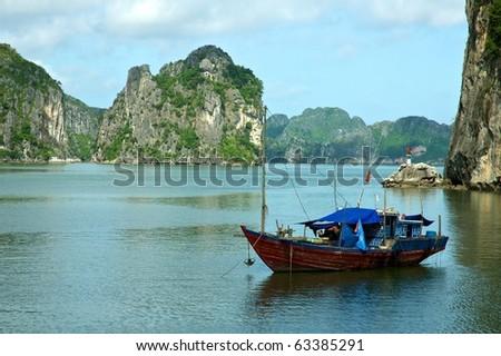 Fishing Boat in Halong Bay, Vietnam