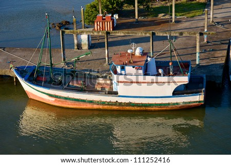 Fishing boat in Itajai port. Brazil.
