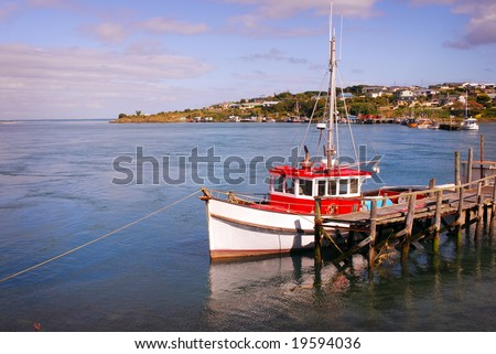 Fishing boat in port, in Riverton New Zealand
