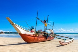Fishing boat  in Sri Lanka in a summer day