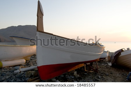 Fishing boat in sunrise light in andalucia
