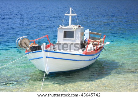 Fishing boat in the Aegean sea in Greece