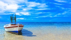 Fishing boat in the Ionian sea in Greece