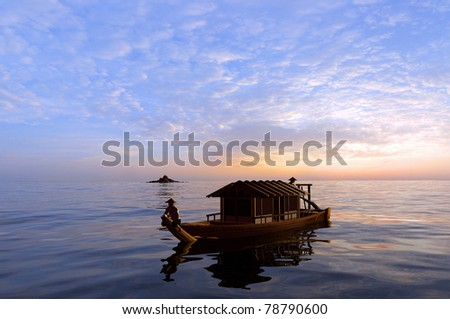 Fishing boat in the sea at dawn.