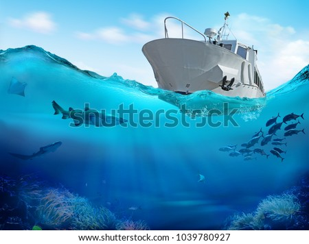Fishing boat in the sea. 3D illustration.