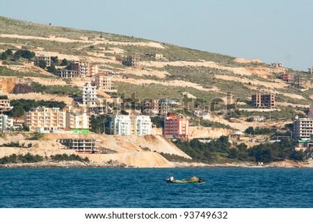 fishing boat near the coast of Saranda, Albania