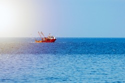 Fishing boat of red color in the open sea, surrounded by birds and lit by the sun.