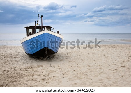 Fishing Boat on the beach from Island Usedom, Germany