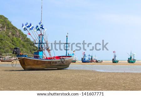 Fishing boat on the beach .Hua Hin Beach, Thailand