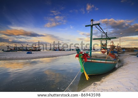 fishing boat on the huahin beach, Thailand