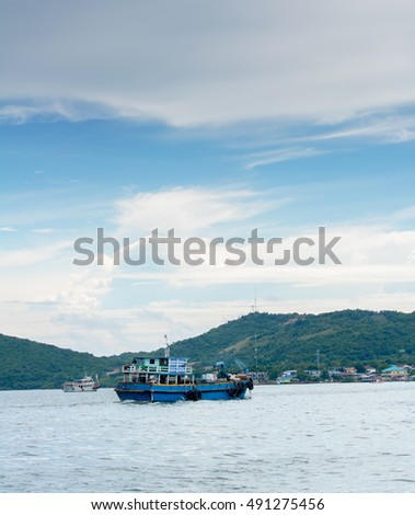 Fishing boat on the sea in koh lan pattaya thailand #491275456