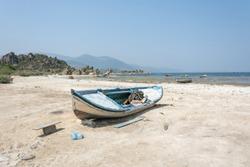 Fishing boat on the shore of Lake Bafa in Turkey.